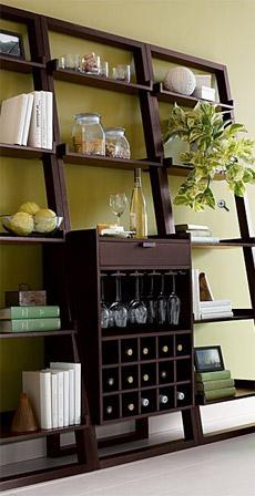 Sloane Leaning Wine Bar and Bookcase Set