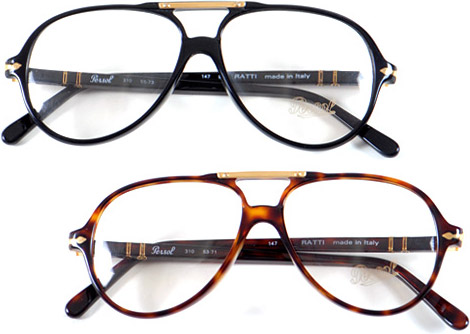 Persol Ratti Aviator Frames in Black and Dark Tortoise
