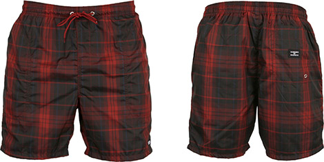 Warriors of Radness Red Plaid Swim Shorts