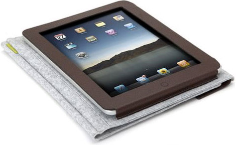Traveler iPad Felt Folio Leather Case
