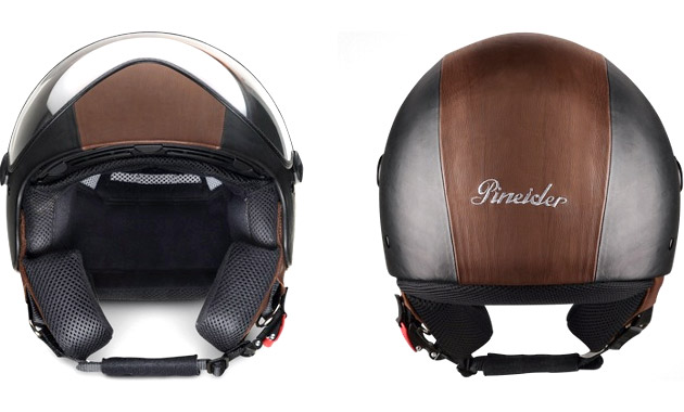 Pinieder Black & Brown Leather Helmet