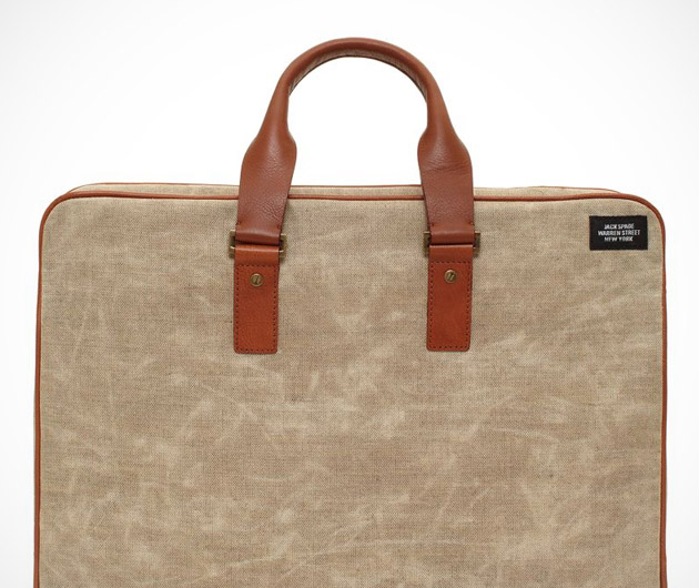 Jack Spade Accordion Waxed Canvas Briefcase