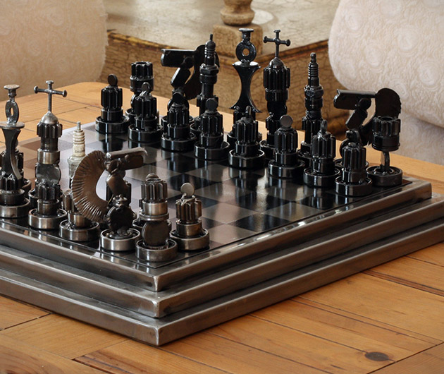 Rustic Warriors Auto Part Chess Set
