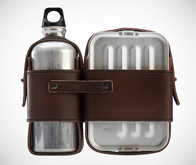 Leather Lunch Box Set
