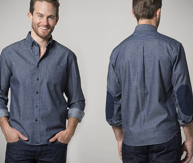 Untuckit Blue Chambray W Elbow Pads Gearculture
