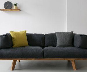 Oak Linen Sofa